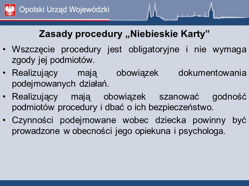 """Zasady procedury """"Niebieskie Karty"""" Wszczęcie procedury jest obligatoryjne i nie wymaga zgody jej podmiotów. Realizujący mają obowiązek dokumentowania"""