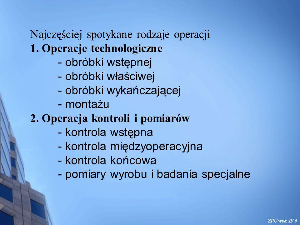 ZPU wyk.II/ 7 3. Operacje transportu - transport międzywydziałowy - transport międzyoperacyjny 4.
