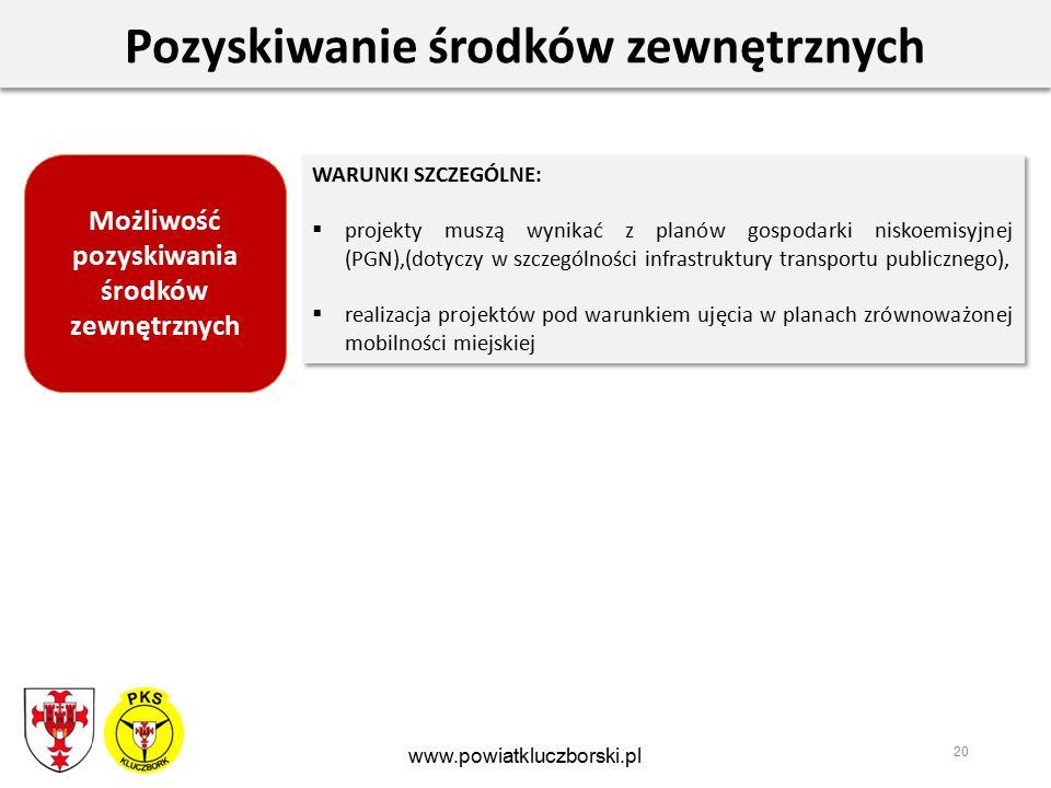 20 Pozyskiwanie środków zewnętrznych WARUNKI SZCZEGÓLNE:  projekty muszą wynikać z planów gospodarki niskoemisyjnej (PGN),(dotyczy w szczególności infrastruktury transportu publicznego),  realizacja projektów pod warunkiem ujęcia w planach zrównoważonej mobilności miejskiej WARUNKI SZCZEGÓLNE:  projekty muszą wynikać z planów gospodarki niskoemisyjnej (PGN),(dotyczy w szczególności infrastruktury transportu publicznego),  realizacja projektów pod warunkiem ujęcia w planach zrównoważonej mobilności miejskiej www.powiatkluczborski.pl Możliwość pozyskiwania środków zewnętrznych