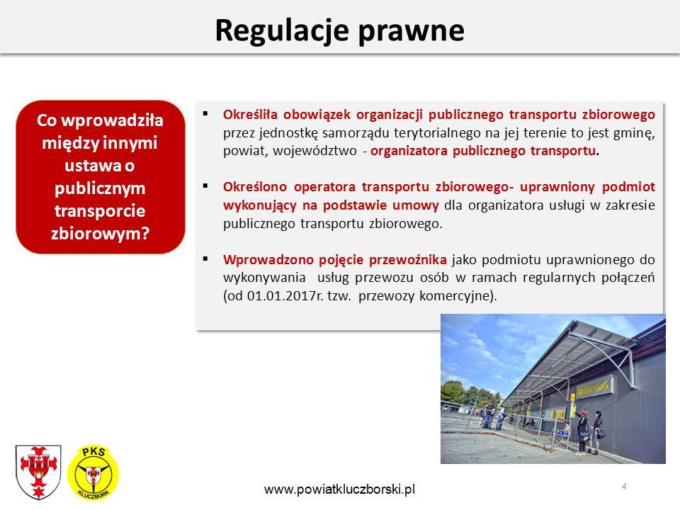 4 Regulacje prawne  Określiła obowiązek organizacji publicznego transportu zbiorowego przez jednostkę samorządu terytorialnego na jej terenie to jest gminę, powiat, województwo - organizatora publicznego transportu.