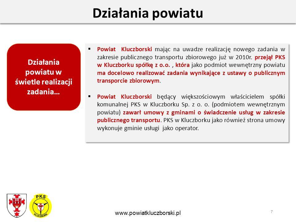 8 Współpraca Współpraca powiatu i gminy oraz PKS w zakresie organizacji publicznego transportu zbiorowego w połączeniu z dowozem dzieci do szkół www.powiatkluczborski.pl Główne założenia współpracy: