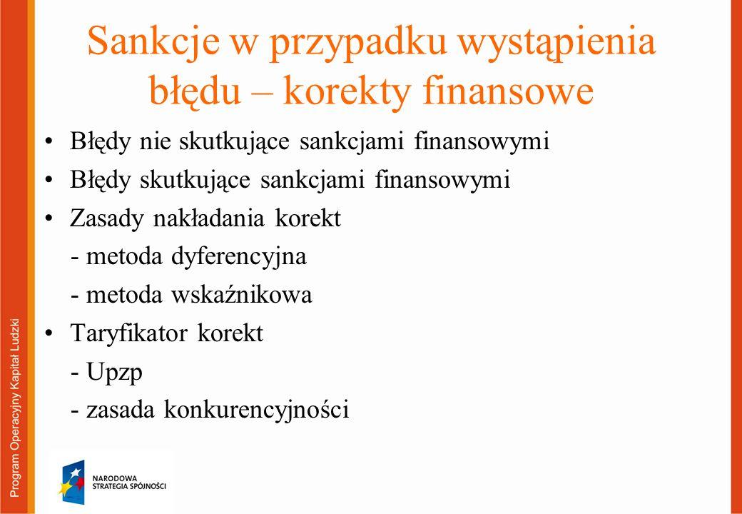 Sankcje w przypadku wystąpienia błędu – korekty finansowe Błędy nie skutkujące sankcjami finansowymi Błędy skutkujące sankcjami finansowymi Zasady nakładania korekt - metoda dyferencyjna - metoda wskaźnikowa Taryfikator korekt - Upzp - zasada konkurencyjności