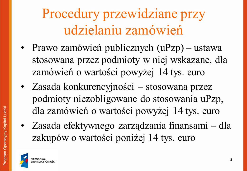 3 Procedury przewidziane przy udzielaniu zamówień Prawo zamówień publicznych (uPzp) – ustawa stosowana przez podmioty w niej wskazane, dla zamówień o