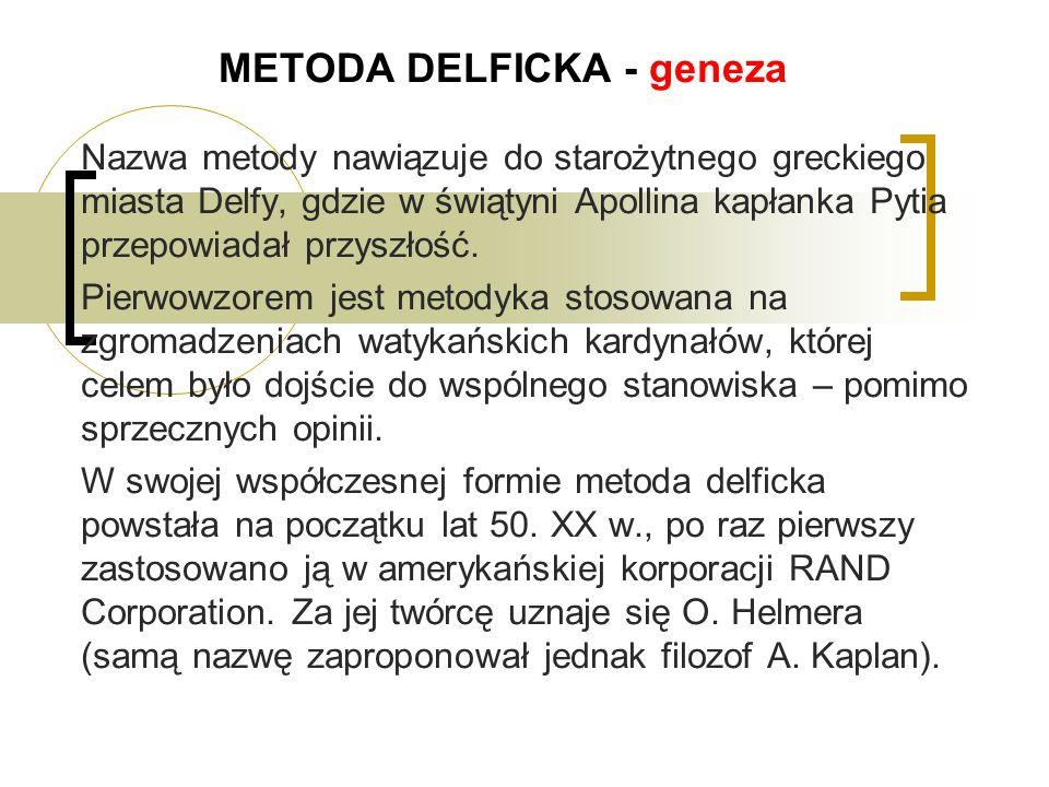 METODA DELFICKA - geneza Nazwa metody nawiązuje do starożytnego greckiego miasta Delfy, gdzie w świątyni Apollina kapłanka Pytia przepowiadał przyszłość.