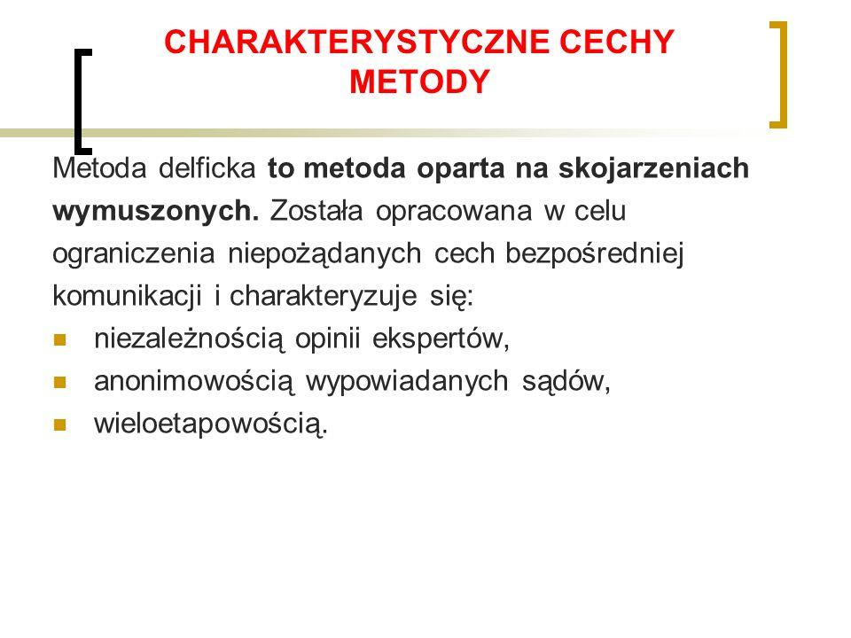 CHARAKTERYSTYCZNE CECHY METODY Metoda delficka to metoda oparta na skojarzeniach wymuszonych.