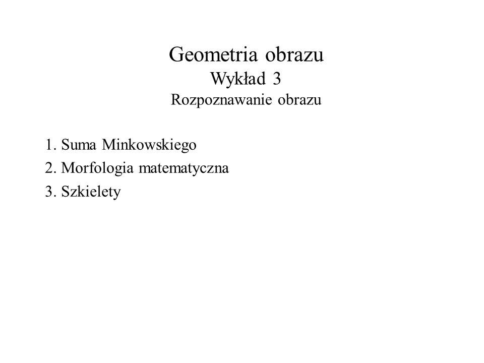 Geometria obrazu Wykład 3 Rozpoznawanie obrazu 1.Suma Minkowskiego 2.