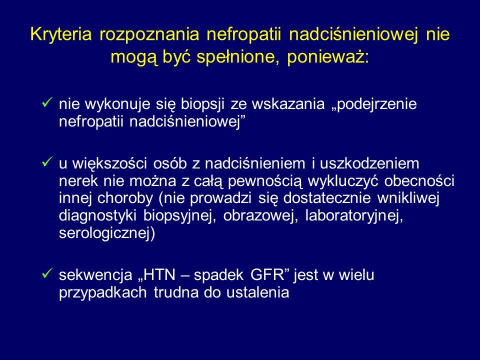 """Kryteria rozpoznania nefropatii nadciśnieniowej nie mogą być spełnione, ponieważ: nie wykonuje się biopsji ze wskazania """"podejrzenie nefropatii nadciśnieniowej u większości osób z nadciśnieniem i uszkodzeniem nerek nie można z całą pewnością wykluczyć obecności innej choroby (nie prowadzi się dostatecznie wnikliwej diagnostyki biopsyjnej, obrazowej, laboratoryjnej, serologicznej) sekwencja """"HTN – spadek GFR jest w wielu przypadkach trudna do ustalenia"""