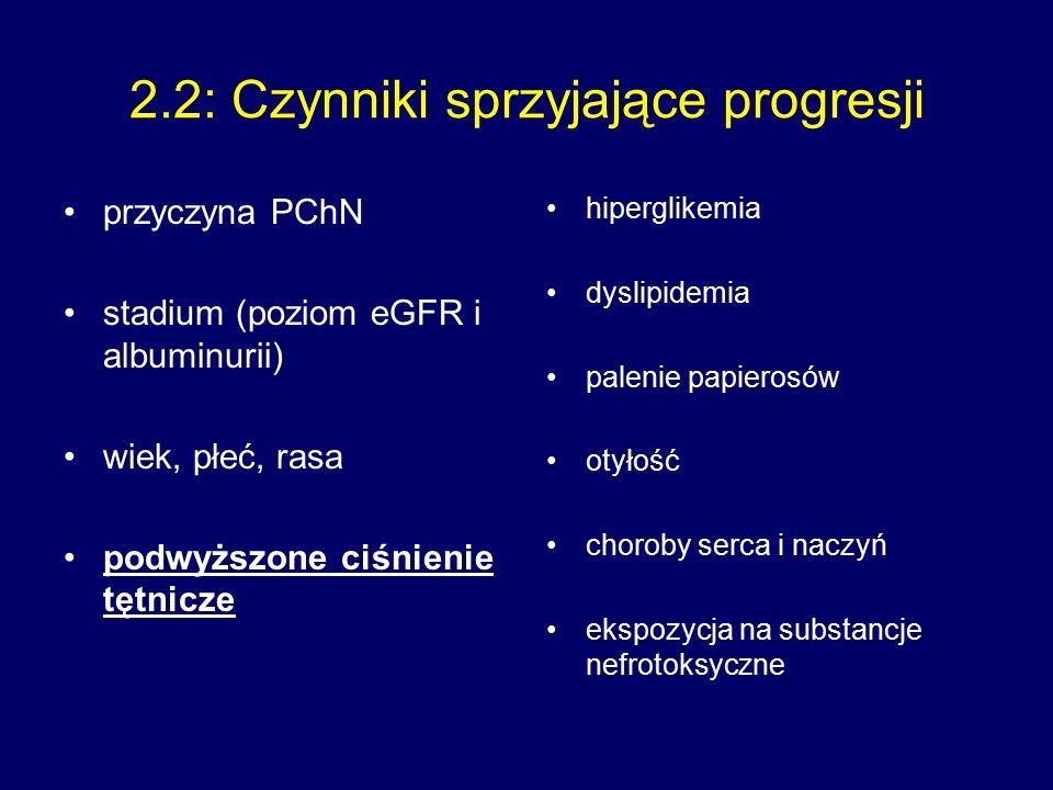 2.2: Czynniki sprzyjające progresji przyczyna PChN stadium (poziom eGFR i albuminurii) wiek, płeć, rasa podwyższone ciśnienie tętnicze hiperglikemia dyslipidemia palenie papierosów otyłość choroby serca i naczyń ekspozycja na substancje nefrotoksyczne