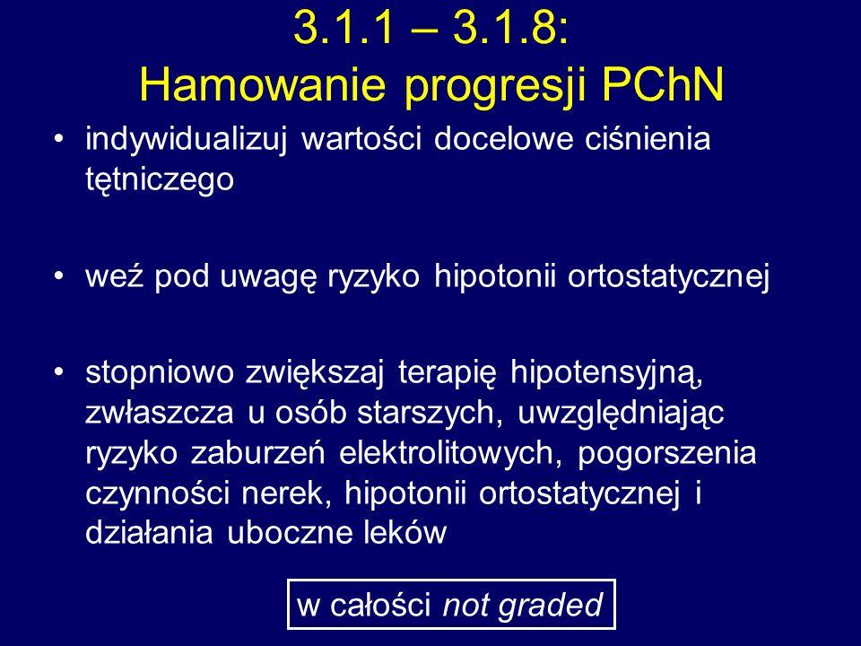 3.1.1 – 3.1.8: Hamowanie progresji PChN indywidualizuj wartości docelowe ciśnienia tętniczego weź pod uwagę ryzyko hipotonii ortostatycznej stopniowo zwiększaj terapię hipotensyjną, zwłaszcza u osób starszych, uwzględniając ryzyko zaburzeń elektrolitowych, pogorszenia czynności nerek, hipotonii ortostatycznej i działania uboczne leków w całości not graded