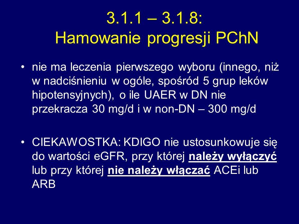 3.1.1 – 3.1.8: Hamowanie progresji PChN nie ma leczenia pierwszego wyboru (innego, niż w nadciśnieniu w ogóle, spośród 5 grup leków hipotensyjnych), o ile UAER w DN nie przekracza 30 mg/d i w non-DN – 300 mg/d CIEKAWOSTKA: KDIGO nie ustosunkowuje się do wartości eGFR, przy której należy wyłączyć lub przy której nie należy włączać ACEi lub ARB
