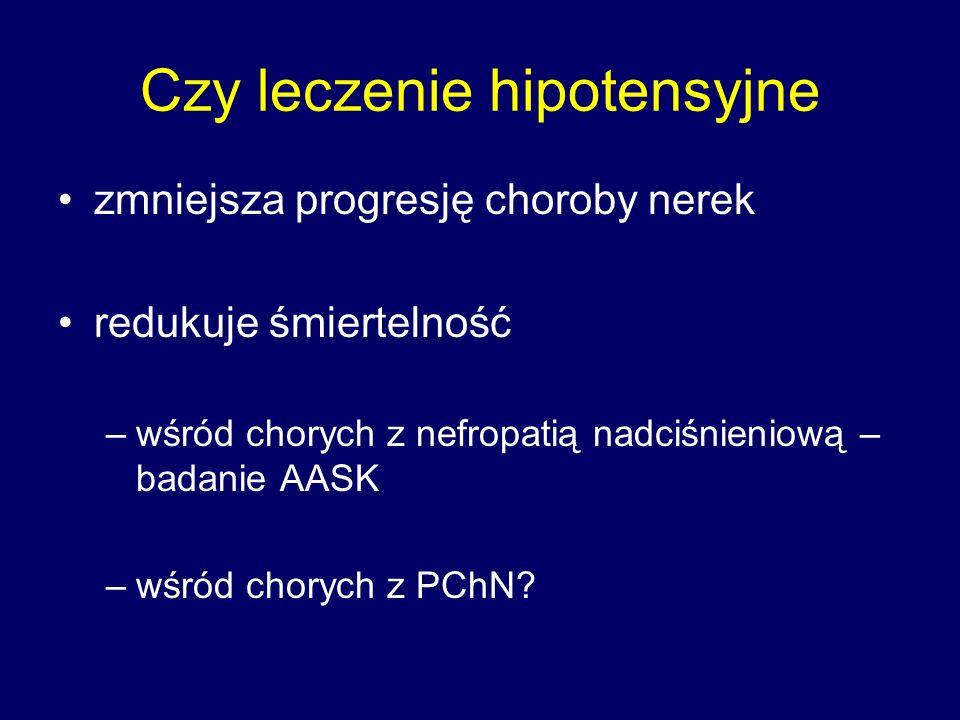 Czy leczenie hipotensyjne zmniejsza progresję choroby nerek redukuje śmiertelność –wśród chorych z nefropatią nadciśnieniową – badanie AASK –wśród chorych z PChN?