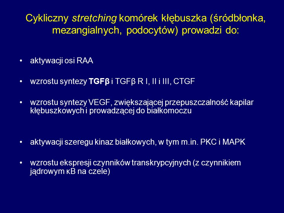 """Konsekwencje morfologiczne i czynnościowe stopienie wypustek stopowatych podocytów uszkodzenie kapilar kłębuszkowych z zapadaniem się pętli (tuft collapse) nasilona synteza macierzy mezangialnej z globalnym lub ogniskowym stwardnieniem kłębuszka zanik naczyń okołocewkowych (ukrwionych """"wtórnie z tętniczki odprowadzającej) zanik cewek nerkowych i nasilone włóknienie śródmiąższowe"""