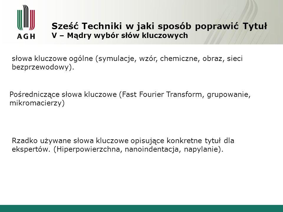 Sześć Techniki w jaki sposób poprawić Tytuł V – Mądry wybór słów kluczowych słowa kluczowe ogólne (symulacje, wzór, chemiczne, obraz, sieci bezprzewod