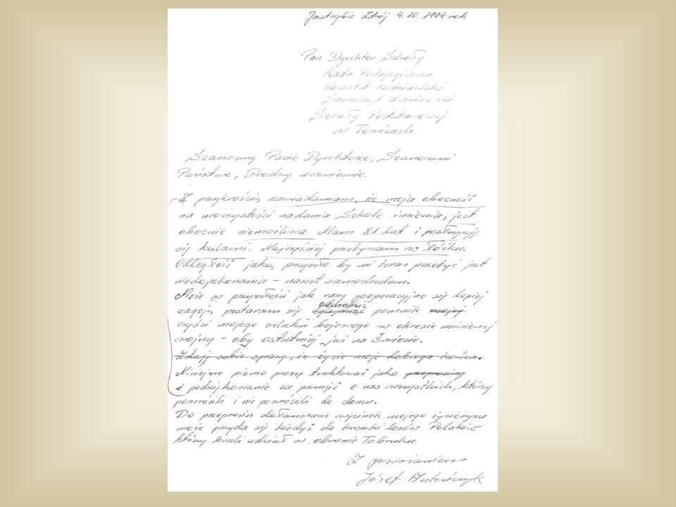 """Zachował się brudnopis odpowiedzi dziadka: """"Szanowny Panie Dyrektorze, Szanowni Państwo, Drodzy uczniowie Z przykrością zawiadamiam, że moja obecność na uroczystości nadania Szkole imienia, jest obecnie niemożliwa."""