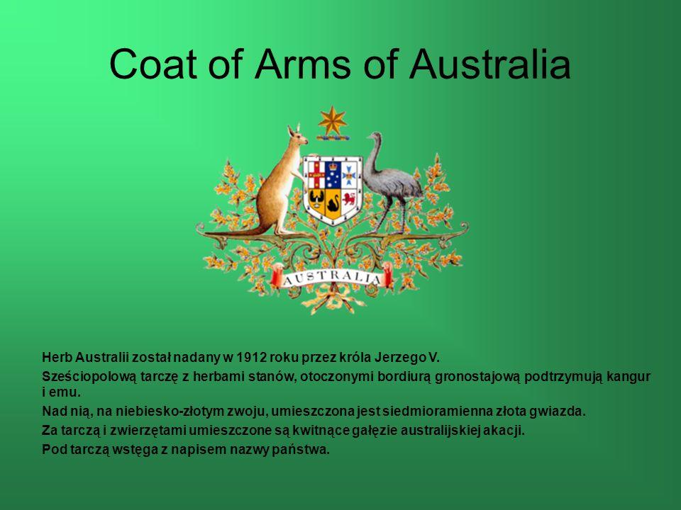 Coat of Arms of Australia Herb Australii został nadany w 1912 roku przez króla Jerzego V.