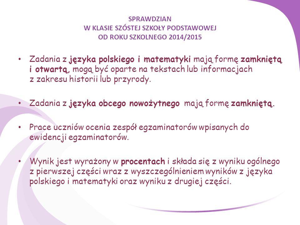SPRAWDZIAN W KLASIE SZÓSTEJ SZKOŁY PODSTAWOWEJ OD ROKU SZKOLNEGO 2014/2015 Zadania z języka polskiego i matematyki mają formę zamkniętą i otwartą, mogą być oparte na tekstach lub informacjach z zakresu historii lub przyrody.