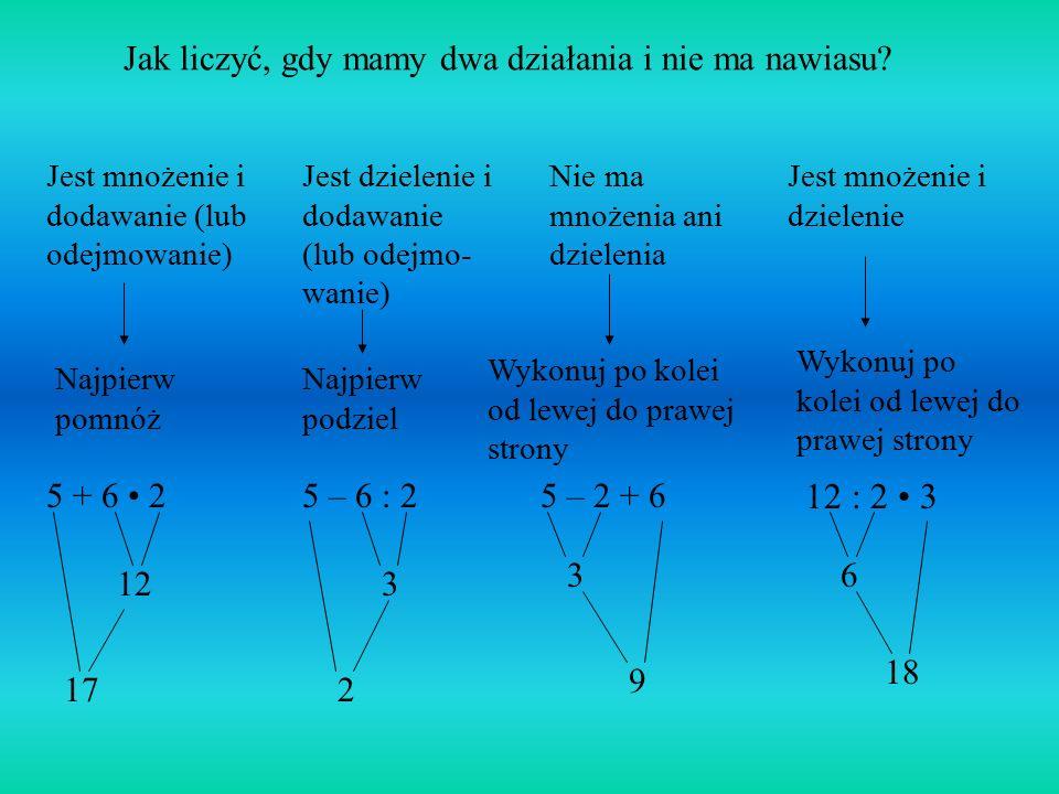 Kolejność wykonywania działań na liczbach naturalnych ( )