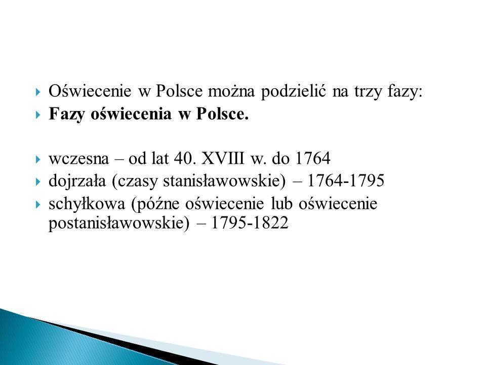  Oświecenie w Polsce można podzielić na trzy fazy:  Fazy oświecenia w Polsce.  wczesna – od lat 40. XVIII w. do 1764  dojrzała (czasy stanisławows