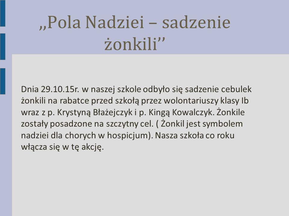 ,,Pola Nadziei – sadzenie żonkili'' Dnia 29.10.15r. w naszej szkole odbyło się sadzenie cebulek żonkili na rabatce przed szkołą przez wolontariuszy kl