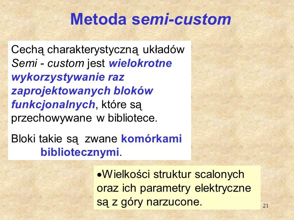 21 Metoda semi-custom Cechą charakterystyczną układów Semi - custom jest wielokrotne wykorzystywanie raz zaprojektowanych bloków funkcjonalnych, które