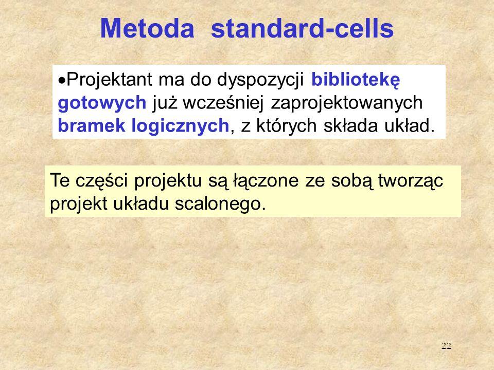 22 Metoda standard-cells  Projektant ma do dyspozycji bibliotekę gotowych już wcześniej zaprojektowanych bramek logicznych, z których składa układ. T