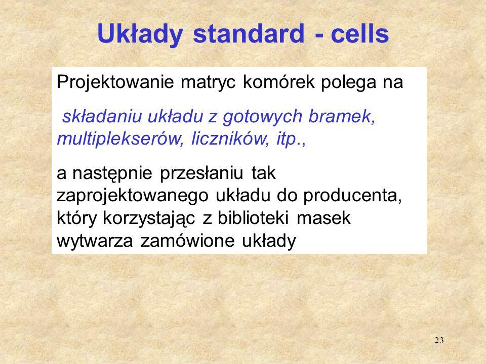 23 Układy standard - cells Projektowanie matryc komórek polega na składaniu układu z gotowych bramek, multiplekserów, liczników, itp., a następnie prz