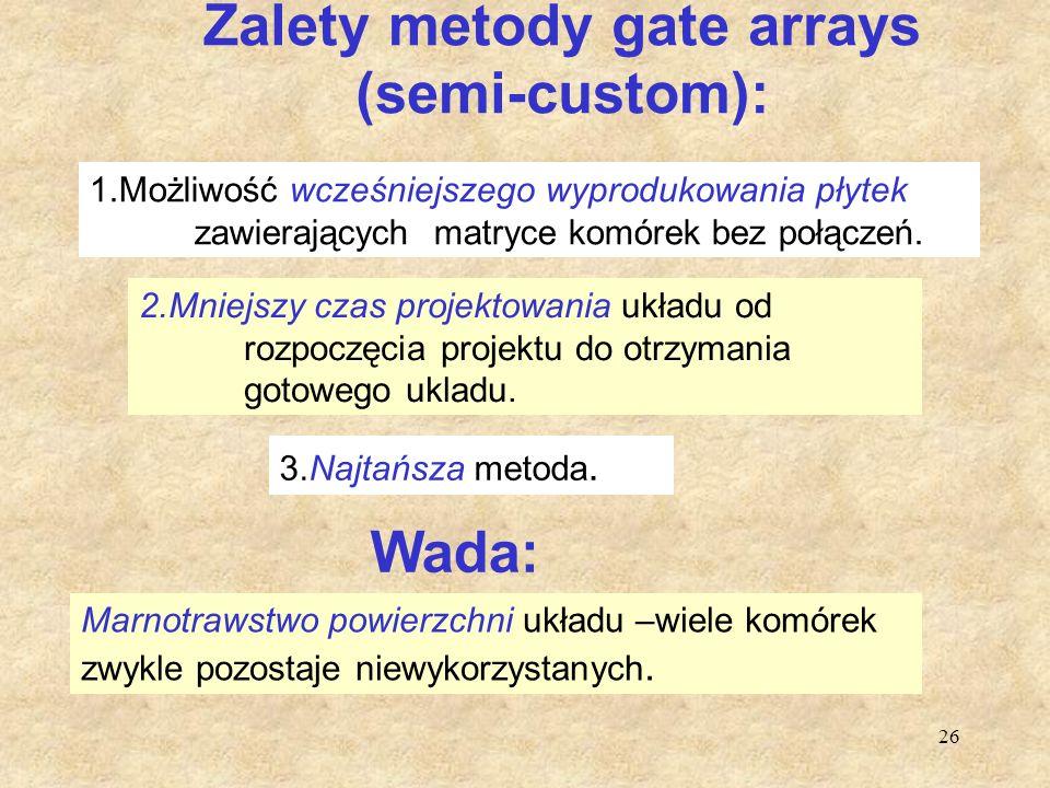 26 Zalety metody gate arrays (semi-custom): 2.Mniejszy czas projektowania układu od rozpoczęcia projektu do otrzymania gotowego ukladu. 3.Najtańsza me