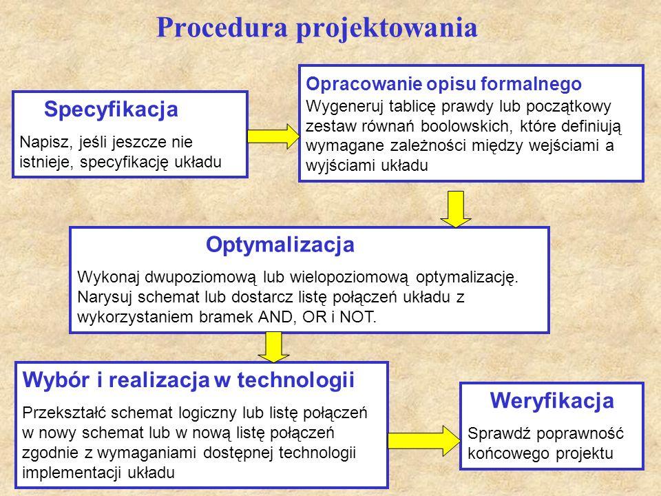 3 Procedura projektowania Specyfikacja Napisz, jeśli jeszcze nie istnieje, specyfikację układu Opracowanie opisu formalnego Wygeneruj tablicę prawdy l