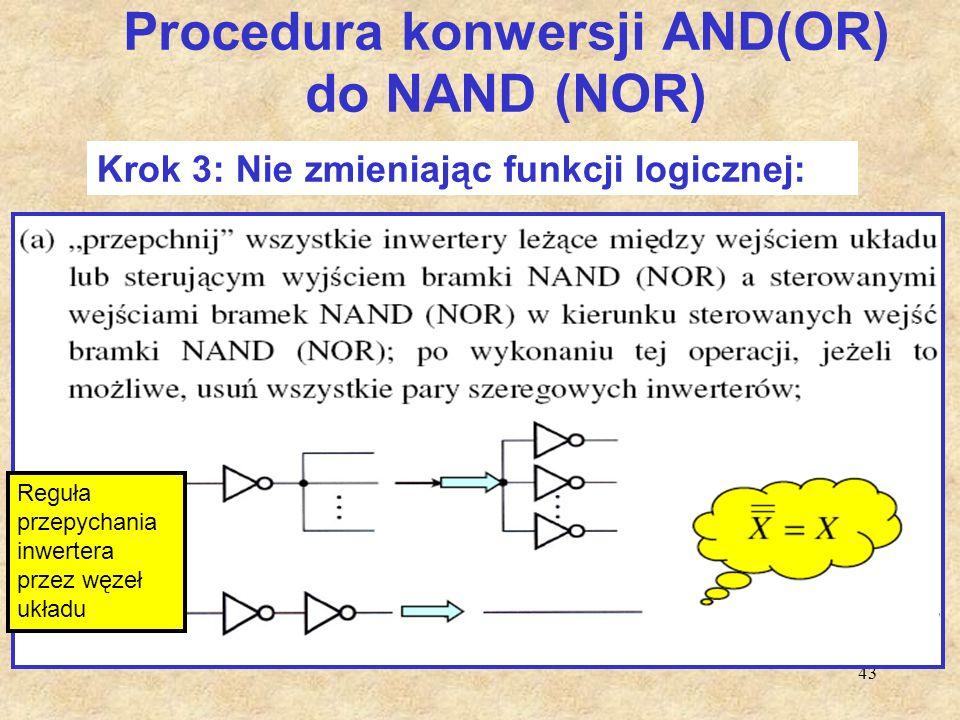 43 Procedura konwersji AND(OR) do NAND (NOR) Krok 3: Nie zmieniając funkcji logicznej: Reguła przepychania inwertera przez węzeł układu