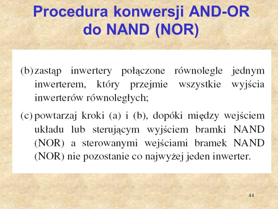 44 Procedura konwersji AND-OR do NAND (NOR)