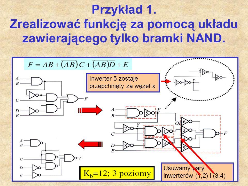 45 Przykład 1. Zrealizować funkcję za pomocą układu zawierającego tylko bramki NAND. Usuwamy pary inwerterów (1,2) i (3,4) Inwerter 5 zostaje przepchn