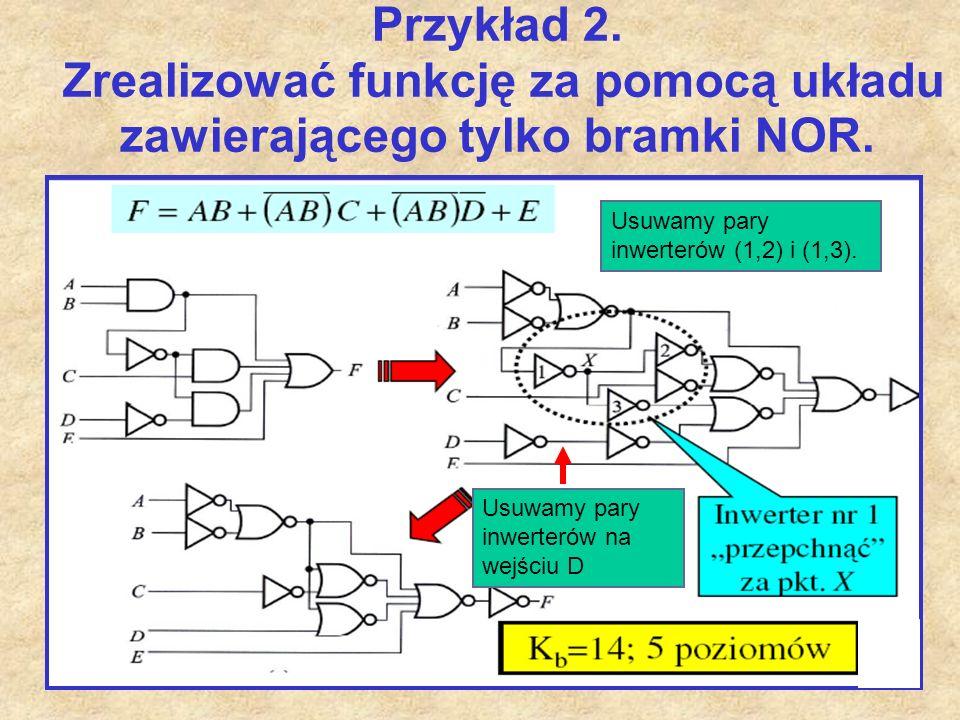 46 Przykład 2. Zrealizować funkcję za pomocą układu zawierającego tylko bramki NOR. Usuwamy pary inwerterów (1,2) i (1,3). Usuwamy pary inwerterów na