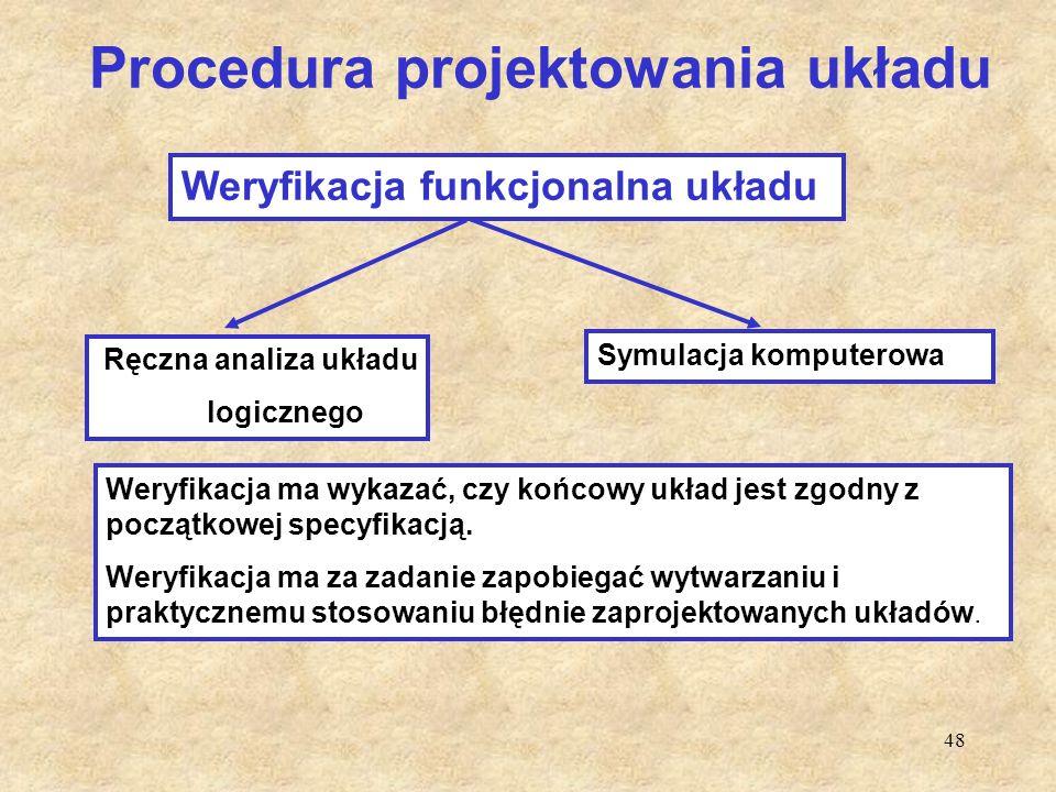 48 Procedura projektowania układu Ręczna analiza układu logicznego Symulacja komputerowa Weryfikacja funkcjonalna układu Weryfikacja ma wykazać, czy k