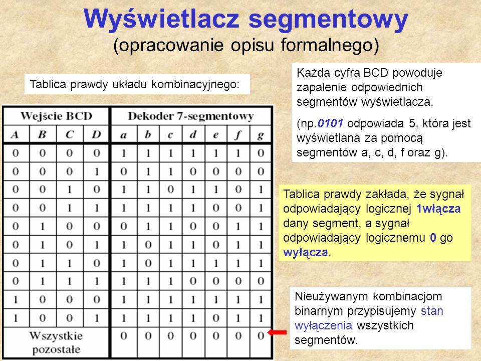 7 Wyświetlacz segmentowy (opracowanie opisu formalnego) Każda cyfra BCD powoduje zapalenie odpowiednich segmentów wyświetlacza. (np.0101 odpowiada 5,