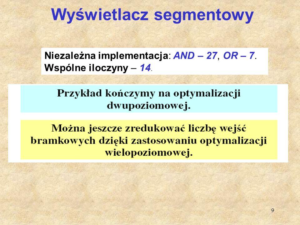 9 Wyświetlacz segmentowy Niezależna implementacja: AND – 27, OR – 7. Wspólne iloczyny – 14.