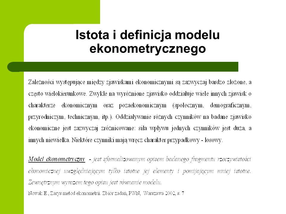 Ogólna postać modelu ekonometrycznego