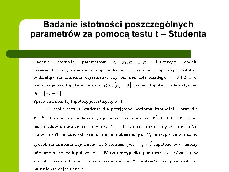 Badanie istotności poszczególnych parametrów za pomocą testu t – Studenta