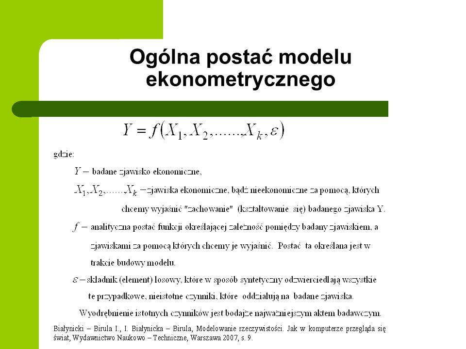 Rodzaje modeli ekonometrycznych ze względu na liczbę równań