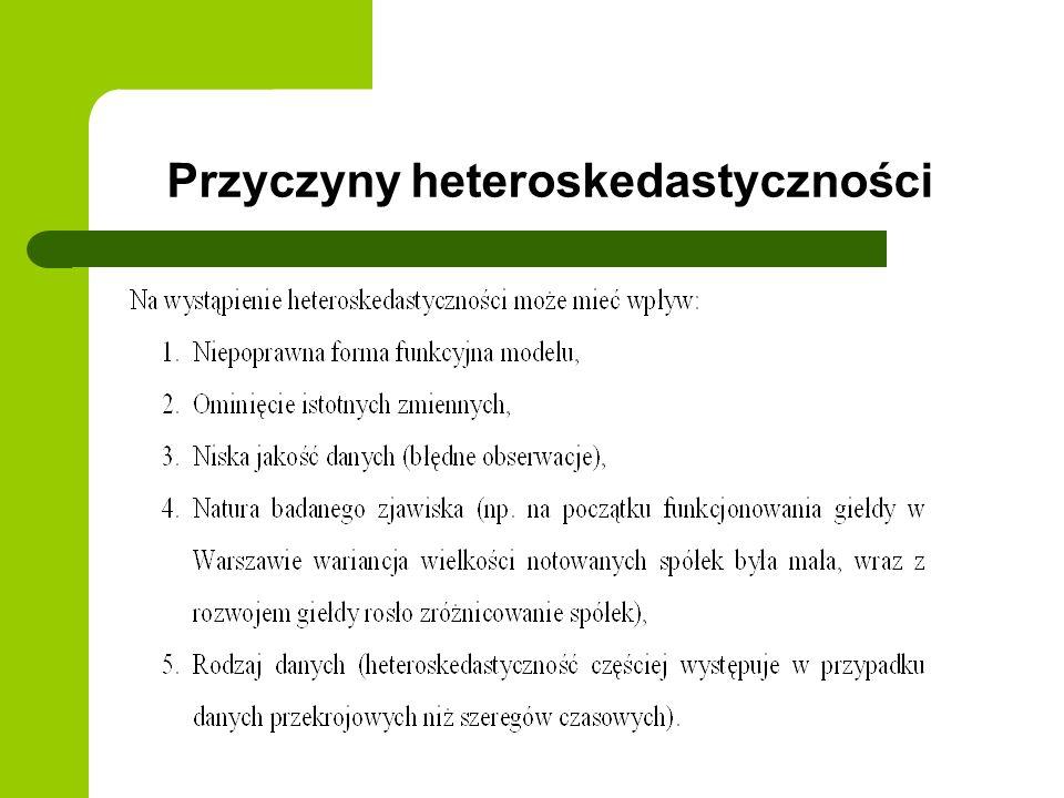 Przyczyny heteroskedastyczności