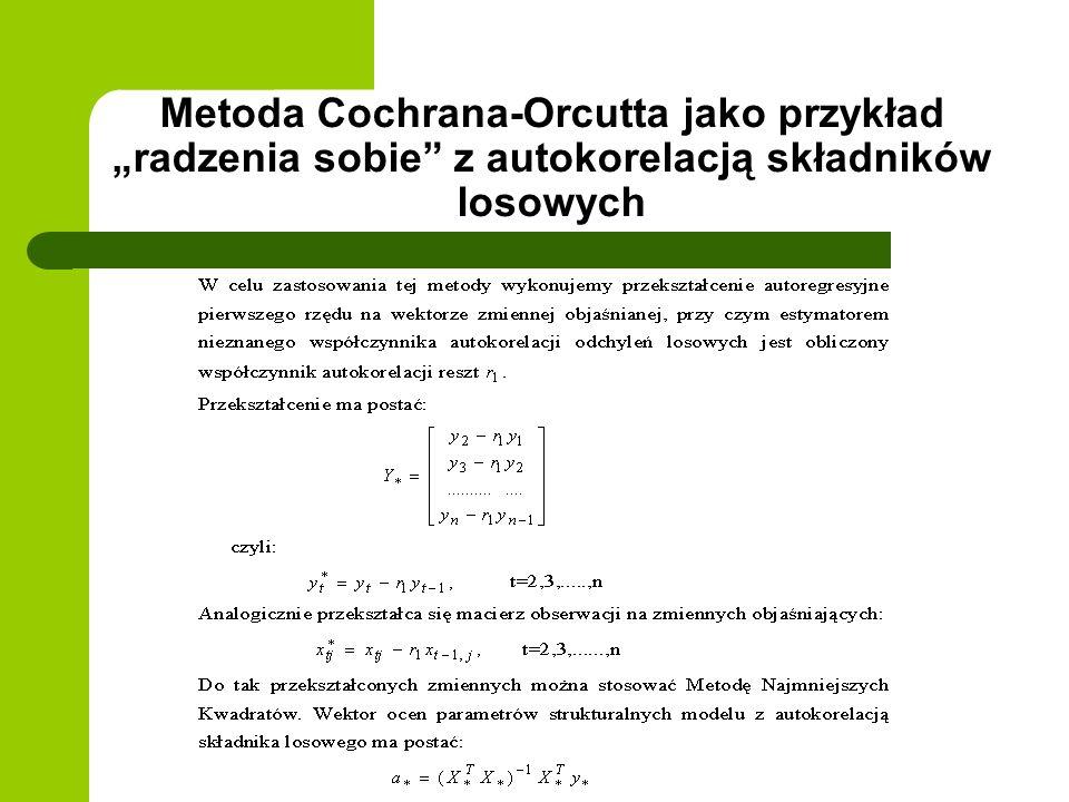 """Metoda Cochrana-Orcutta jako przykład """"radzenia sobie z autokorelacją składników losowych"""