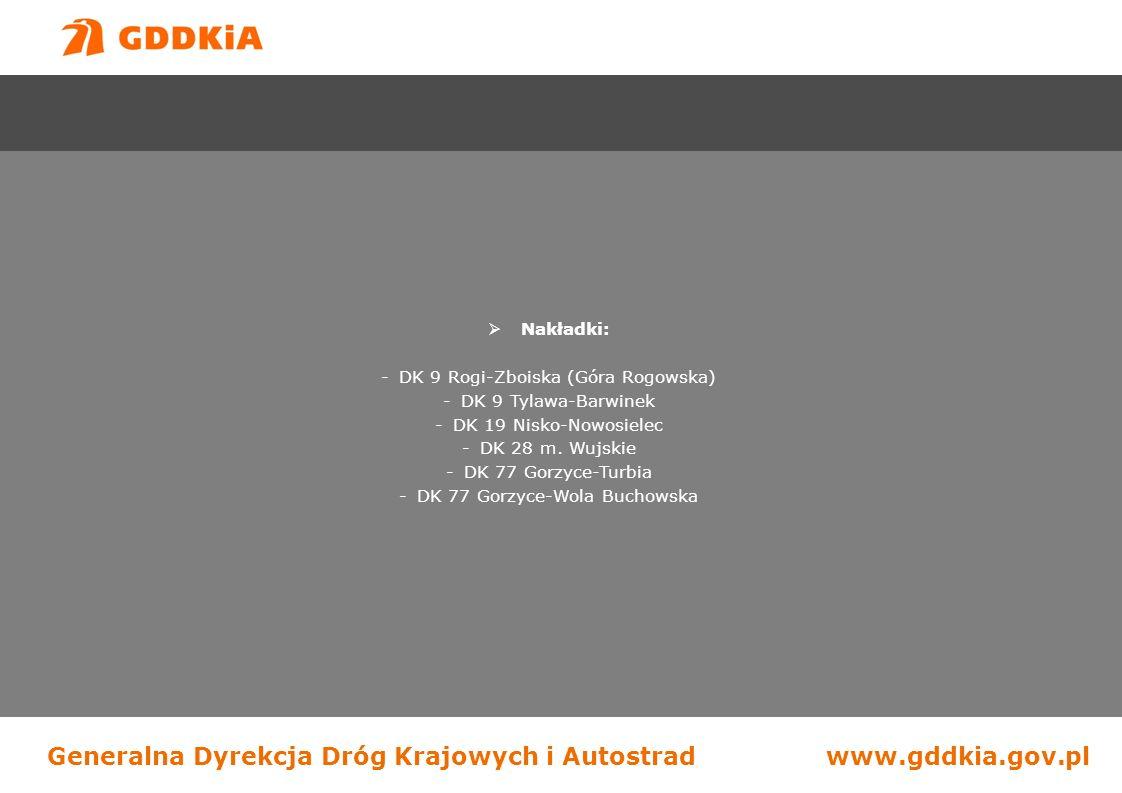 Generalna Dyrekcja Dróg Krajowych i Autostradwww.gddkia.gov.pl  Nakładki: -DK 9 Rogi-Zboiska (Góra Rogowska) -DK 9 Tylawa-Barwinek -DK 19 Nisko-Nowosielec -DK 28 m.