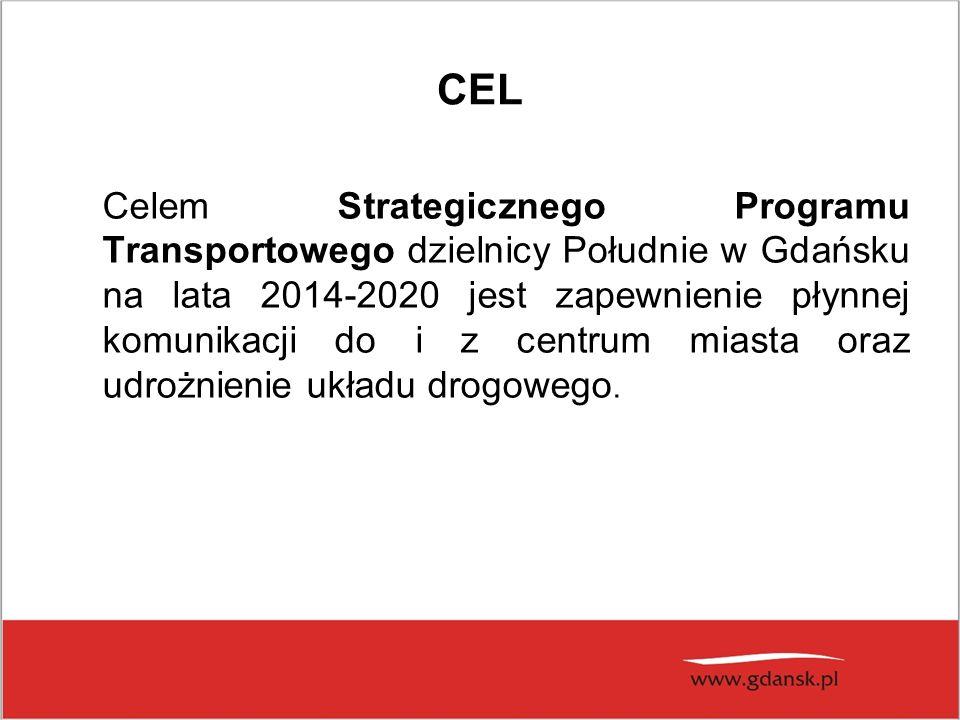 CEL Celem Strategicznego Programu Transportowego dzielnicy Południe w Gdańsku na lata 2014-2020 jest zapewnienie płynnej komunikacji do i z centrum miasta oraz udrożnienie układu drogowego.