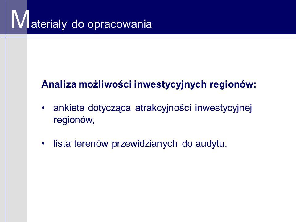 M ateriały do opracowania Analiza możliwości inwestycyjnych regionów: ankieta dotycząca atrakcyjności inwestycyjnej regionów, lista terenów przewidzianych do audytu.