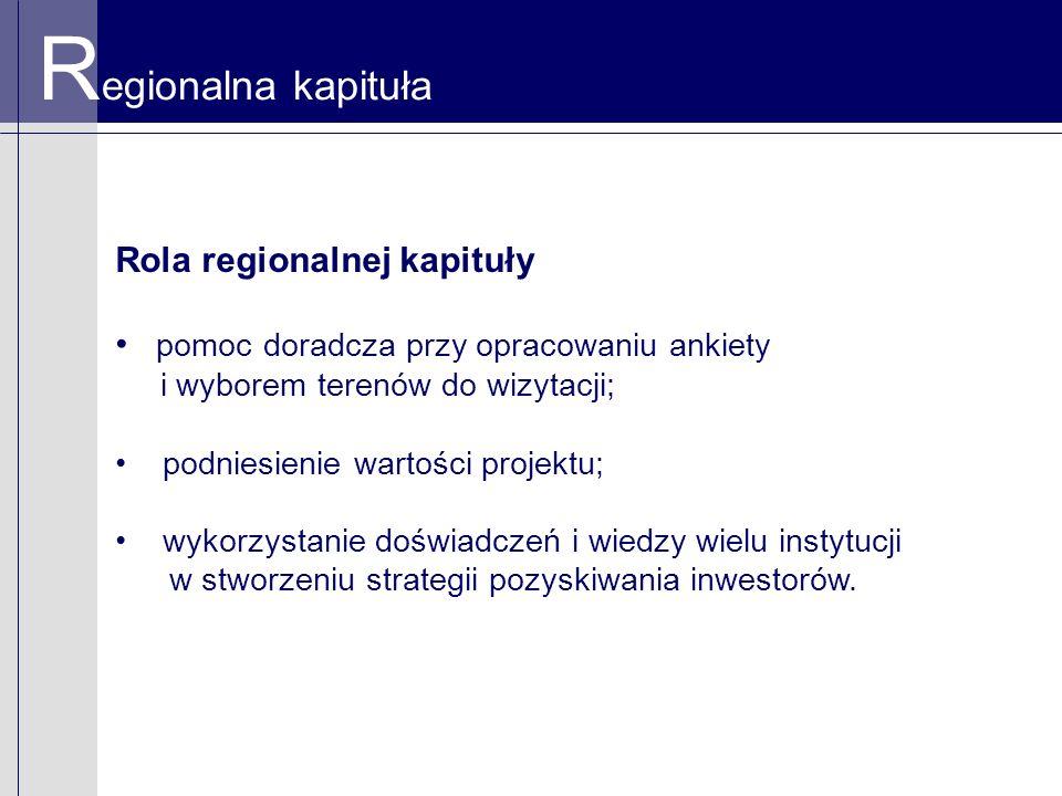 R egionalna kapituła Rola regionalnej kapituły pomoc doradcza przy opracowaniu ankiety i wyborem terenów do wizytacji; podniesienie wartości projektu; wykorzystanie doświadczeń i wiedzy wielu instytucji w stworzeniu strategii pozyskiwania inwestorów.
