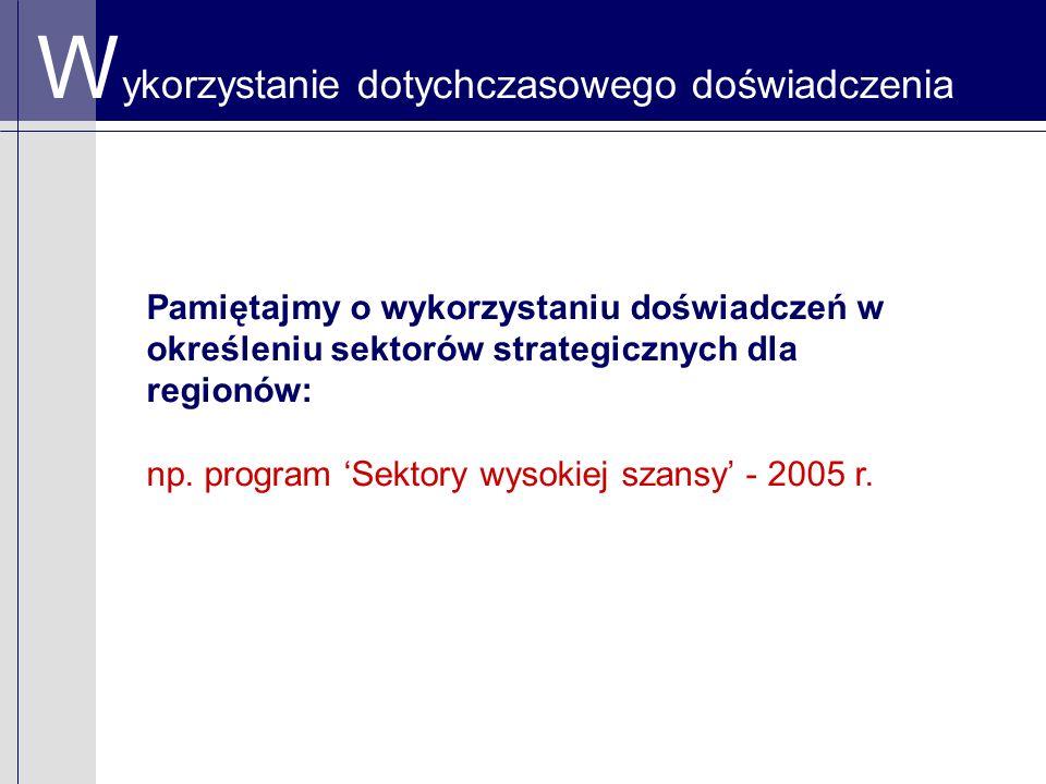W ykorzystanie dotychczasowego doświadczenia Pamiętajmy o wykorzystaniu doświadczeń w określeniu sektorów strategicznych dla regionów: np.