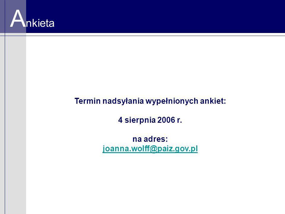 A nkieta Termin nadsyłania wypełnionych ankiet: 4 sierpnia 2006 r. na adres: joanna.wolff@paiz.gov.pl