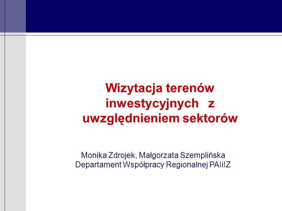 Wizytacja terenów inwestycyjnych z uwzględnieniem sektorów Monika Zdrojek, Małgorzata Szemplińska Departament Współpracy Regionalnej PAIiIZ