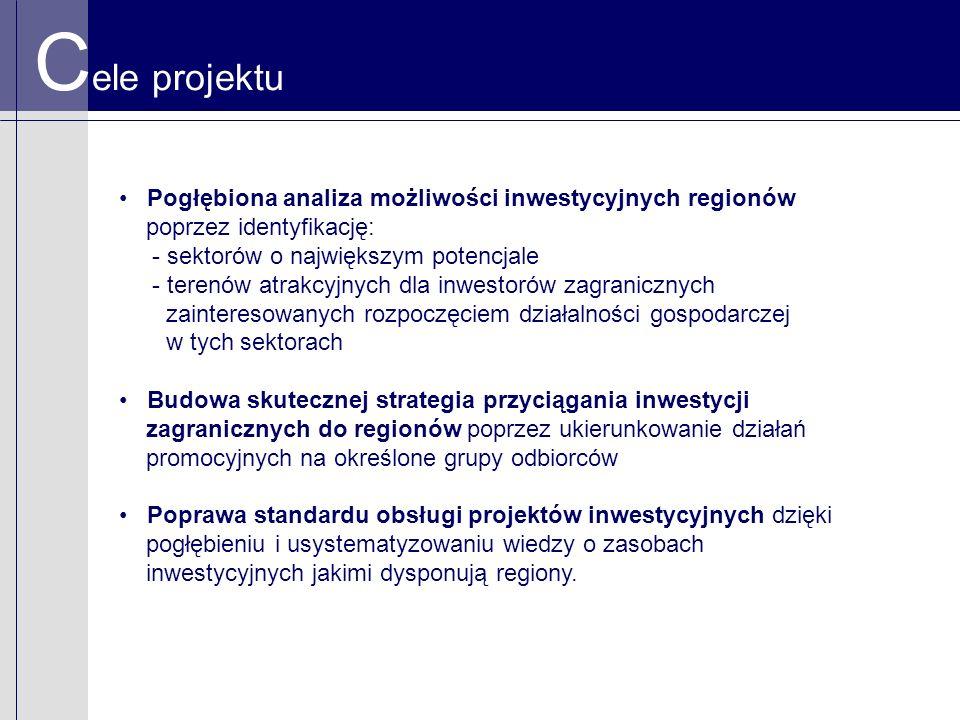 C ele projektu Pogłębiona analiza możliwości inwestycyjnych regionów poprzez identyfikację: - sektorów o największym potencjale - terenów atrakcyjnych