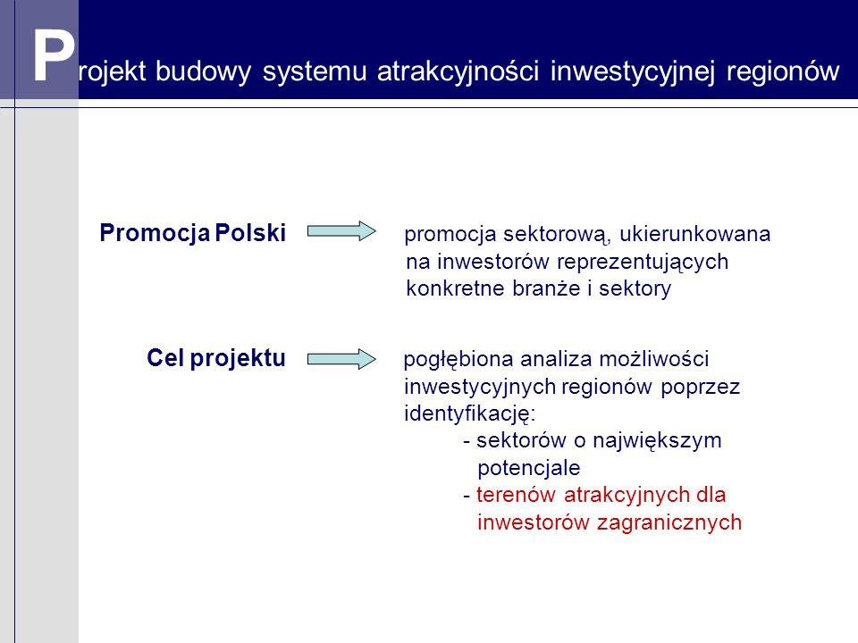 P rojekt budowy systemu atrakcyjności inwestycyjnej regionów Promocja Polski promocja sektorową, ukierunkowana na inwestorów reprezentujących konkretne branże i sektory Cel projektu pogłębiona analiza możliwości inwestycyjnych regionów poprzez identyfikację: - sektorów o największym potencjale - terenów atrakcyjnych dla inwestorów zagranicznych