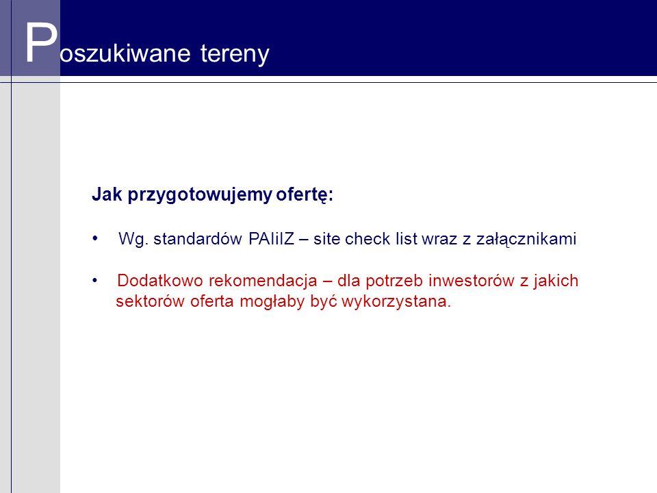 P oszukiwane tereny Jak przygotowujemy ofertę: Wg. standardów PAIiIZ – site check list wraz z załącznikami Dodatkowo rekomendacja – dla potrzeb inwest